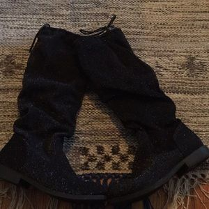 Justice Boots, black sparkle material. Size 3
